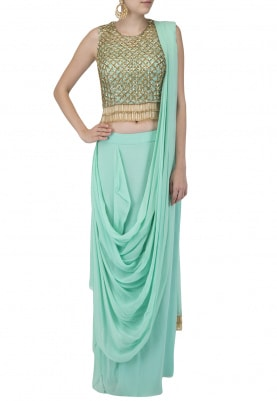 Sea Green Embroidered Drape Saree