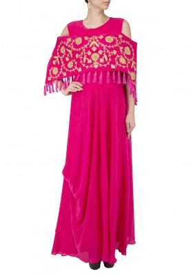 Pink Gown with Cape