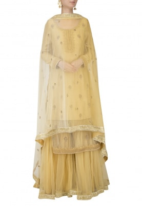 Sunset Yellow Chanderi Short Kurta with Sharara Set