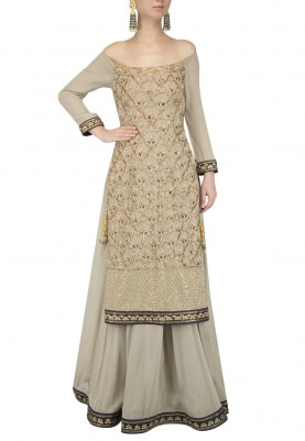 Olive Green Off Shoulder Kurta with Skirt Set