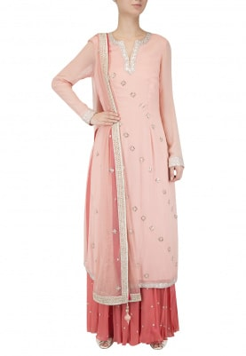 Pink Embroidered Kurta with Coral Sharara Set