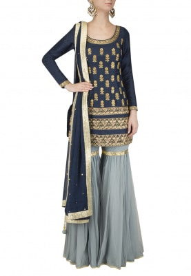 Navy Embroidered Short Kurta with Slate Grey Gharara Set
