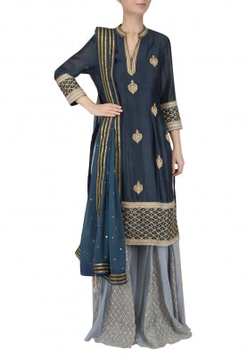 Navy Embroidered Kurta with Sharara Set