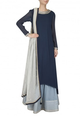 Navy Embroidered Kurta with Light Blue Skirt Set