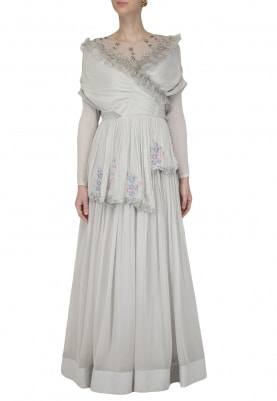 Light Grey Embroidered Draped Anarkali Gown