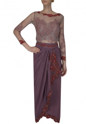 Mauve Pearl Embroidered Bodysuit with Draped Skirt