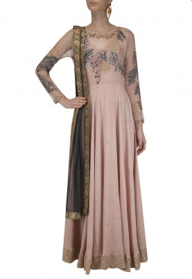 Blush Pink Embroidered Anarkali with Grey Skirt