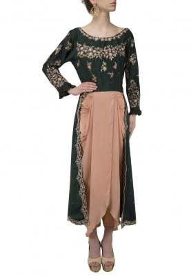 Bottle Green Embroidered Tunic with Dhoti Pants