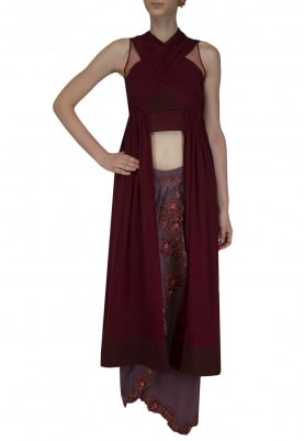 Red Drape Top with Embrodered Mauve Skirt