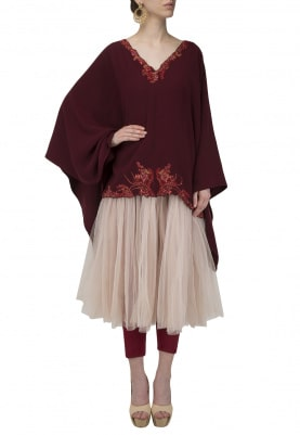 Red Embroidered Kaftan with Leggings