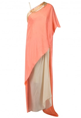 Peach Embroidered Assymetric Cape with Corset and Drape Skirt