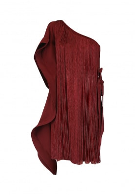 Maroon One Shoulder Drape Dress
