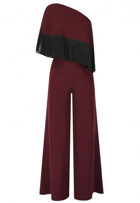 Maroon One Shoulder Cape with Fringed Jumpsuit