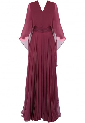 Maroon Gathered Gown with Cape