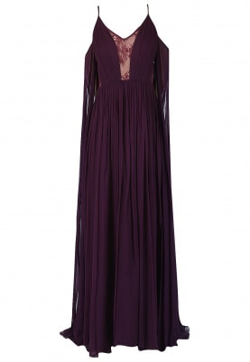 Purple Gathered Drape Sleeves Gown