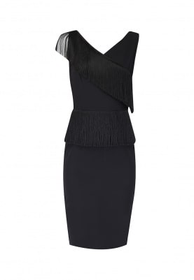Black Asymmetrical Fringed Dress