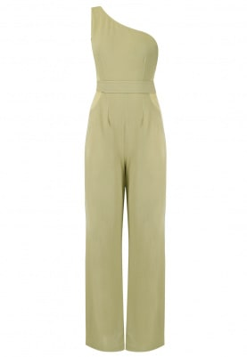 Beige One Shoulder Jumpsuit