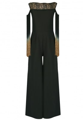 Black Fringed Jumpsuit