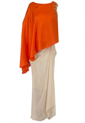 Orange Embroidered Cold Shoulder Cape with Corset and Drape Skirt