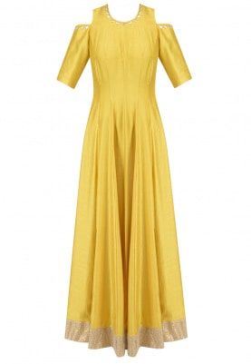 Yellow Cold Shoulder Embroidered Anarkali Set