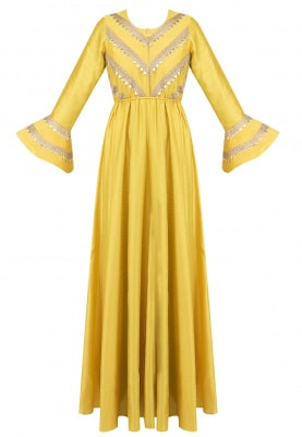 Yellow Gota Fusion Gown