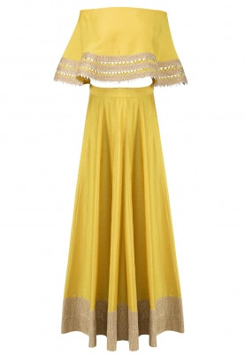Yellow Gota Embellished Cape Crop Top and Skirt