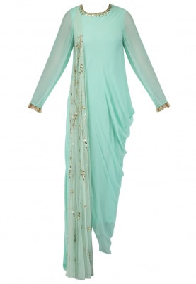 Sea Green Cowl Kurta with Attached Dupatta