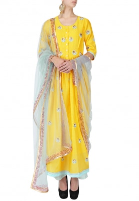 Yellow And Blue Embroidered Anarkali Set