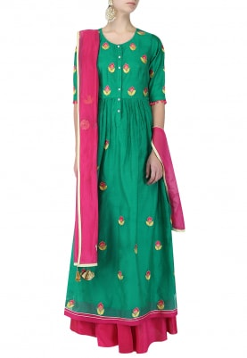 Haldi Green And Magenta Embroidered Anarkali Set