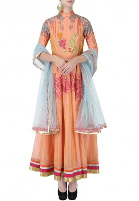 Orange And Blue Floral Embroidered Anarkali Set