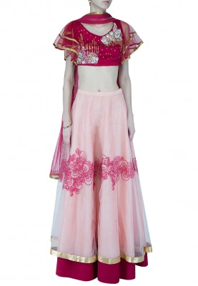 Maroon And Icy Pink Embroidered Lehenga Set