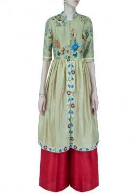 Sage Green Embroidered Kurta With Palazzo Set