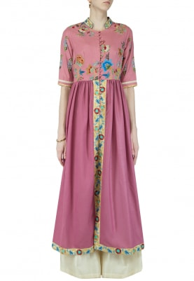 Onion Pink Embroidered Kurta With Palazzo Set