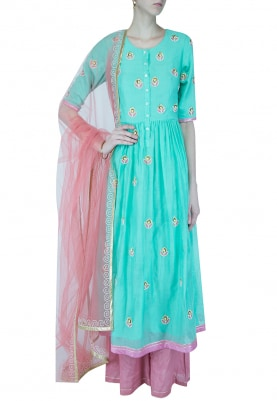 Peppermint And Pink Embroidered Anarkali Set