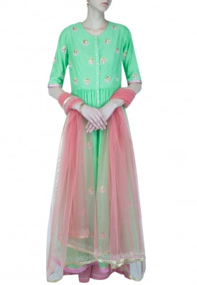 Lime Green And Pink Embroidered Anarkali Set