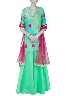 Peppermint Embroidered Short Kurta With Lehenga Set