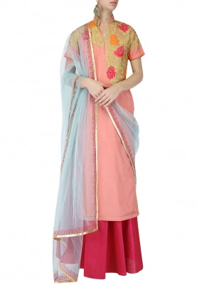 Light Pink Floral Embroidered Kurta With Magenta Lehenga Set