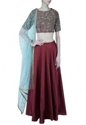 Deep Red And Blue Embroidered Lehenga Set