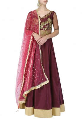 Wine And Gold Embroidered Anarkali Set