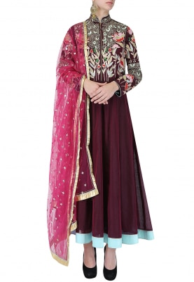 Burgundy And Pink Embroidered Anarkali Set