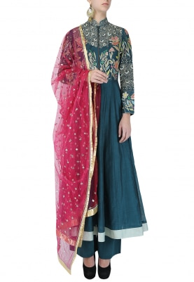 Navy And Pink Embroidered Anarkali Set