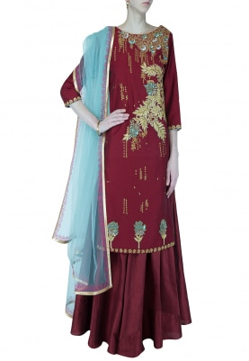 Deep Red Embroidered Kurta With Lehenga Set