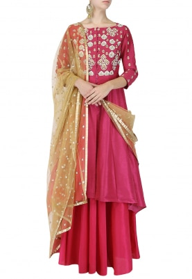 Pink Embroidered Anarkali With Lehenga Set