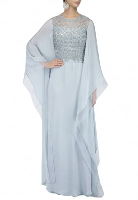 Serene Blue Bugle Beads Embroidered Kaftan
