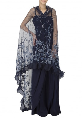 Midnight Blue Embroidered Side Cape Gown