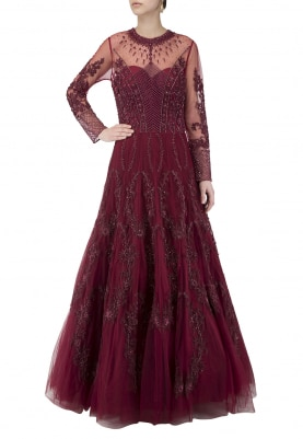 Windsor Wine Heavy Embroidered Kalidaar Gown