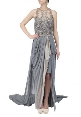 Grey Ombred Draped Dress with Trail