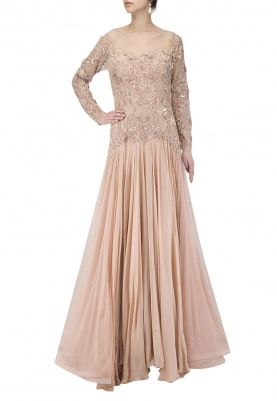 Nude Blush Embroidered Anarkali