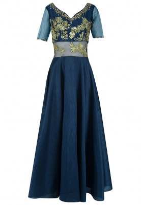 Navy And Gold Embroidered Anarkali Set