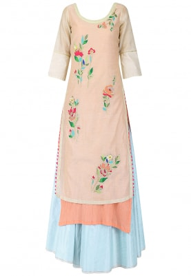 Beige Embroidered Kurta With Blue Lehenga Set